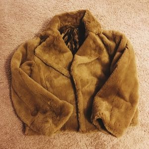 Vince open front faux fur jacket